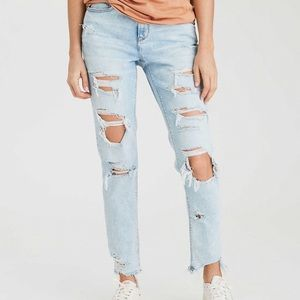 Super distressed light wash American Eagle jeans